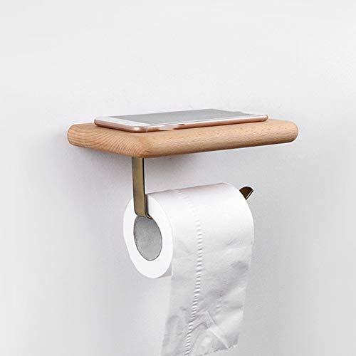 Zwarte notenrolhouder, toiletpapierhouder, roestvrij staal, massief houten plank, is uw ideale keuze, het beste cadeau