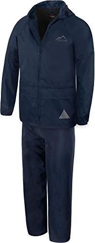 normani Kinder-Regenanzug Softshellset mit Fleecefutter 2-teilig wasserdichtes Set aus Regenjacke und Regenhose für Jungen und Mädchen - Wasser- und Winddicht Farbe Navy Größe M/134-140
