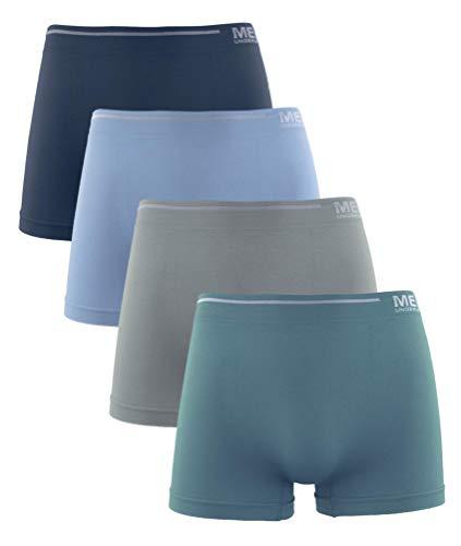 Calzoncillos de Hombre, Licra Sin Costuras Liso Color Uniforme Cómodo Suave Elásticos. Pack de 4 Boxer