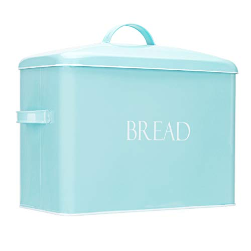 Vintage Metal Bread Bin - Countertop Space-Saving, Extra Large, High Capacity Bread Storage Box for your Kitchen - Holds 2+ Loaves 13' x 10' x 7'- Mint with BREAD Lettering