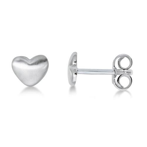 Miore Ohrringe Kinder Mädchen Silberfarbig 925 Sterling Silber Ohrstecker mit Herz