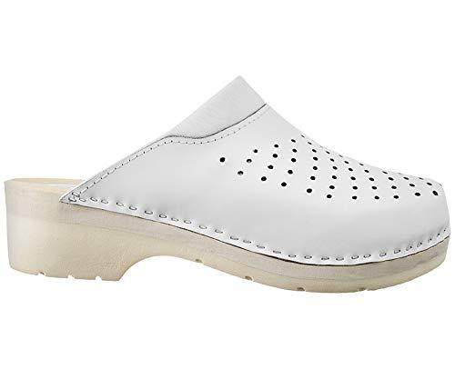 ESTRO Zuecos De Madera para Mujer Calzado Sanitario De Trabajo CDL02 (Blanco 2, Numeric_39)