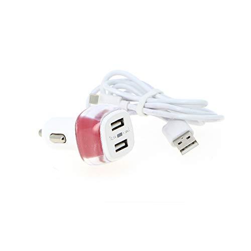 Fomax - Cargador de coche con 2 puertos USB 2.4A + cable tipo C