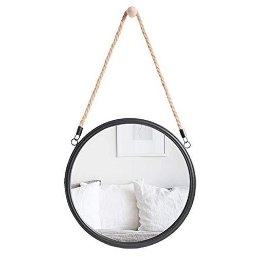 Espejo de Pared, Espejo de Cuerda de cáñamo Negro conciso, Espejo de tocador de diseño Circular, Marco de Metal, Agujeros pretaladrados (40 cm)