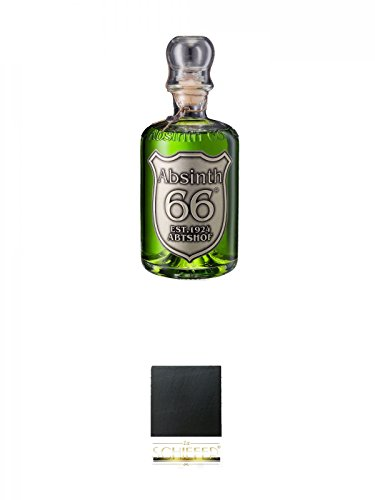 Absinth 66 Classic Grün 66% 0,5 Liter + Schiefer Glasuntersetzer eckig ca. 9,5 cm Durchmesser