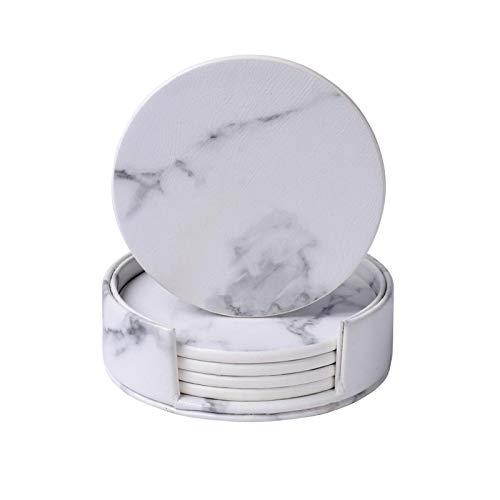 6 Stücke Runde Quadrat Marmor Leder Tisch Tasse Tischsets Kreative Umweltkunststoff Vinyl Drink Tee Untersetzer Hitzebeständig (Color : 08)