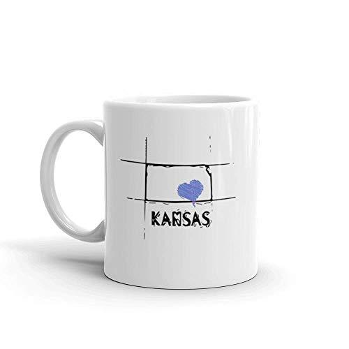 N\A Love Kansas State Sketch USA Arte diseño 11 oz cerámica