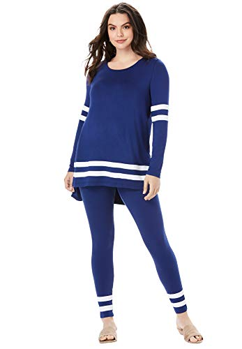Roamans Women's Plus Size Mesh Colorblock Lounge Set Matching Long Sleeve Shirt and Leggings - 12, Evening Blue