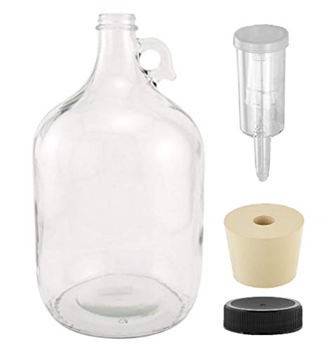 North Mountain Supply 1 Gallon Glass Fermenting Jug with Handle, 6.5 Rubber Stopper, 3-Piece Airlock, Black Plastic Lid