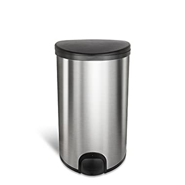 Ninestars Ttt-50-19 Original Toe Tap Trash Can, 13.2 Gal, Stainless Steel