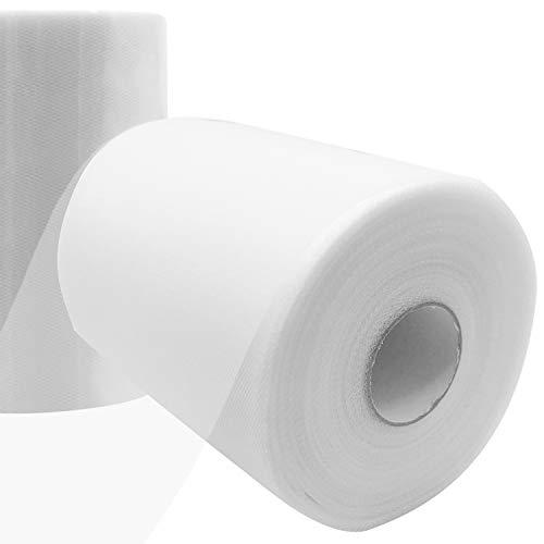 Travistar Tüll Stoff Rolle - 15cm x 91.5m - Tüllstoff - Hochzeit Dekoration - Tisch Deko - Tüllband für DIY Tutu Rock Handwerk Bogen Party Dekoration Crafts Geschenk, Weiß