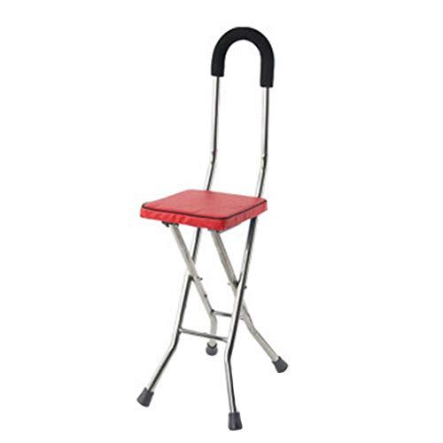 BJH Taburete Plegable para Silla de bastón para Caminar, Acero Inoxidable, bastón de Masaje con Asiento, Taburete portátil para Descanso de Pesca para Personas Mayores discapacitadas, Rojo