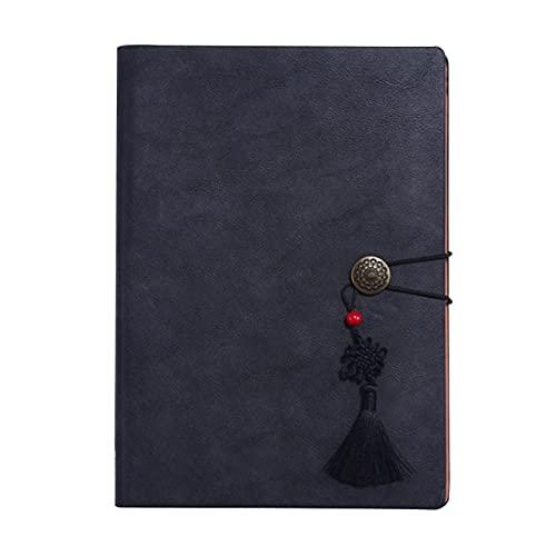 FACHAI Cuaderno A5, cuaderno de hojas sueltas, cubierta de piel sintética de moda, forrada con bolsillo y soporte para bolígrafos, 100 hojas/200 páginas, 6.49 x 9.25 pulgadas