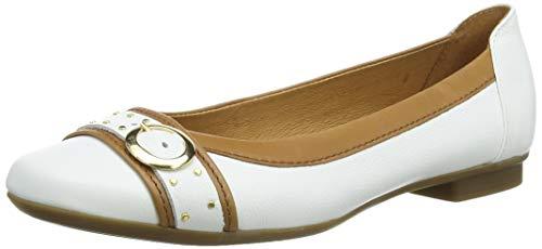 Gabor Shoes Damen Casual Geschlossene Ballerinas, Weiß (Weiss/Cognac 21), 42 EU
