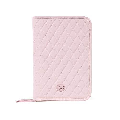Pasito a Pasito. Libro de Nacimiento María. Funda Portadocumentos de Bebé con bolsillos y cremallera. Eco-leather tipo vacuno Color Rosa. Medidas: 27x18x2 cm.