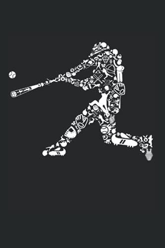 Batter Hitter Silhouette gefüllt mit Baseball-Sachen: DIN A5 Liniert 120 Seiten / 60 Blätter Notizbuch Notizheft Notiz-Block Lustige Baseballspieler Entwürfe für Pitcher & Catcher