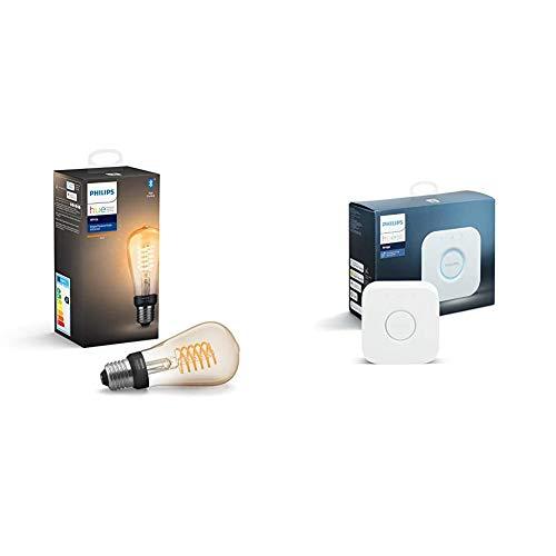 Philips Hue Bombilla Inteligente LED E27, con Bluetooth, Filamento ST64, Luz Blanca Cálida + Puente de Conexión Controlable vía WiFi, Iluminación Inteligente, Compatible con Alexa y Google Home