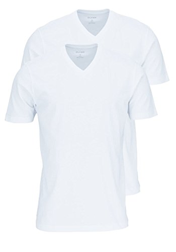 OLYMP Herren T-Shirt Doppelpack V-Ausschnitt- Weiß, XL