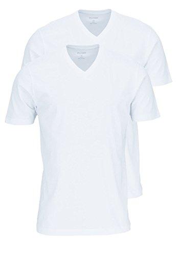 OLYMP Herren T-Shirt City- Doppelpack V-Neck, M, Weiß
