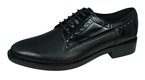 Geox Women's Brogue 11 Croc Embossed Dress Shoe Oxford, Black, 38.5 Medium EU (8.5 US)