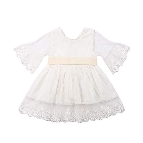 Geagodelia Kinder Mädchen Prinzessin Kleid Geburtstags Hochzeits Spitze Kleid Langarm Taufkleid Sommer Kleidung Festlich Outfits (Weiß, 1-2 Jahre)