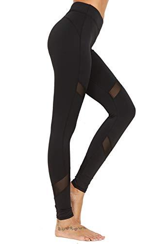 FITTOO Pantalon Yoga Legging de Sport Femme Fitness Collant avec Tulle, #2 Noir, Large