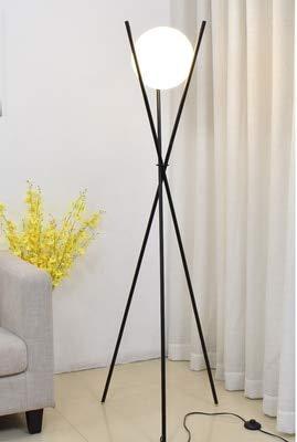 SUZYN Lámparas De Piso Lámpara moderna de la lámpara LED de la bola de vidrio de hierro Luces for la sala de estar Dormitorio Nordic Decoración del hogar E27 Tirpod de oro Lámpara de pie