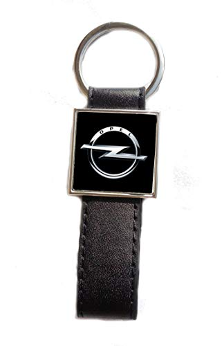 Porte-clés Acier/Simili Cuir Logo Opel (Fond Noir)