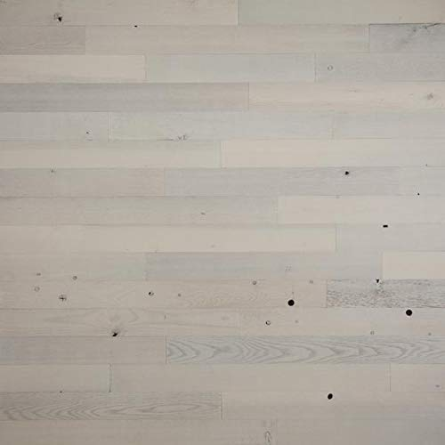 """Timberchic DIY Reclaimed Wooden Wall Planks - Simple Peel and Stick Application. (3"""" Wide - 10 Sq. Ft, Coastal White)"""