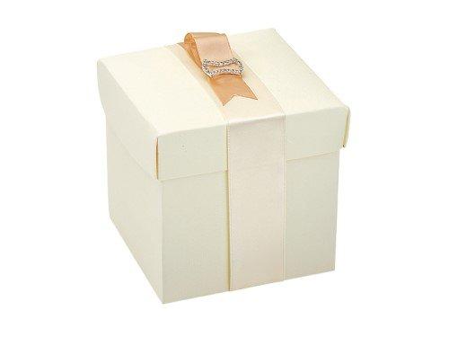 10 Stück Kartonage Würfel mit Deckel Seta elfenbein, 12 x 12 x 12 cm, Gastgeschenk Geschenkverpackung Hochzeit Weihnachten Taufe