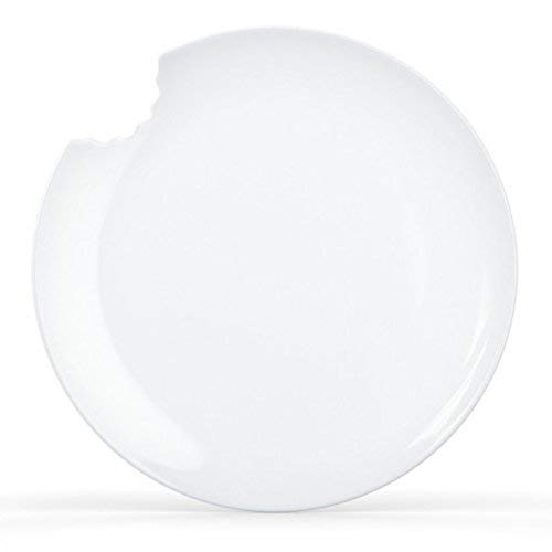 Fiftyeight Dessert Plates with Bite, Set of 2, White, Porcelain,