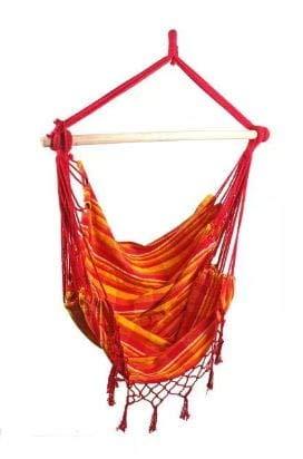 Hamaca colgante brasileña, para exterior, interior, con borde de flecos, silla colgante, hasta 100 kg, hamaca de algodón para niños y adultos, suspensión | (rojo y naranja)