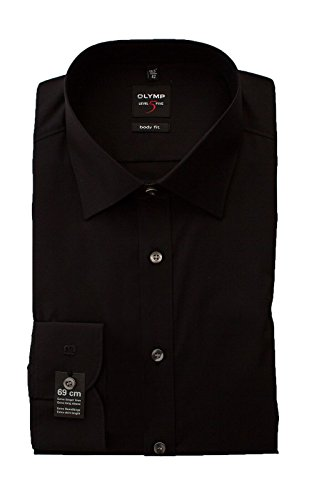 OLYMP Hemd Level 5 Five, Schwarz, Body Fit, Extra Langer Arm 69cm, Bügelleicht, Comfort Stretch, New York Kent (45)