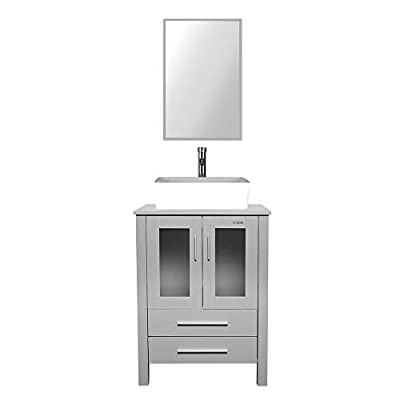 "eclife 24"" Bathroom Vanity and Sink Combo Grey Vanity Rectangle White Ceramic Vessel Sink & 1.5 GPM Water Save Faucet & Solid Brass Pop Up Drain, W/Mirror (T03B02GY)"