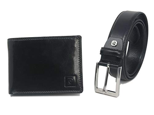 Pierre Cardin Set Regalo uomo,Set Cintura e Portafoglio in Pelle,portafoglio uomo,ragazzo,slim (Nero)