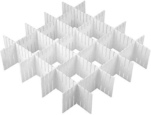 8 Piezas Separadores de Cajones,DIY Divisores de Cajones de Rejilla Ajustables,Plástico DIY Contenedor Organizador Ordenado, para oficina, baño, cocina o dormitorio.(blanco)