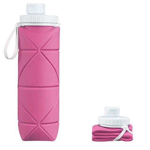 INTEREPRO Botella de agua plegable de silicona, reutilizable, antigoteo, 600 ml, portátil, para viajes, deportes y exteriores (peonía en polvo)
