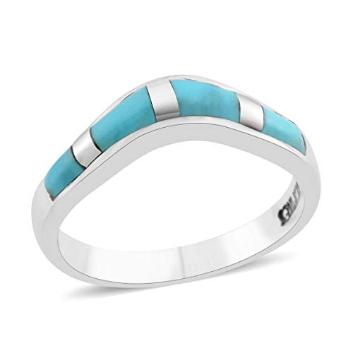 925 Sterling Silver Kingsman Turquoise Southwest Jewelry Band Style Ring for Women Mothers Day Gifts Size 5