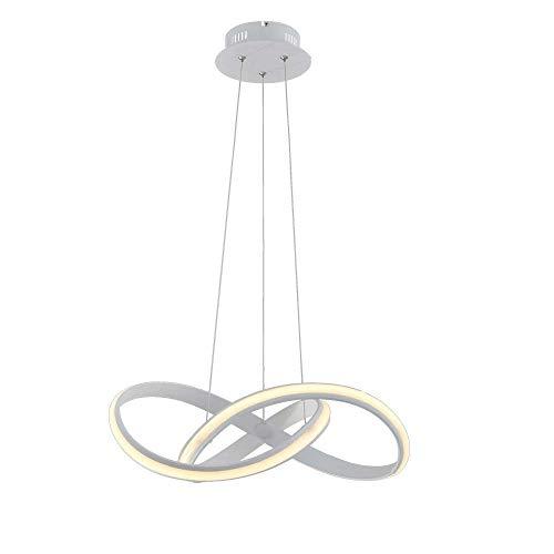 Ledlamp, verstelbaar, spiraalvorm, voor de hal van de keuken, accessoires om op te hangen, acryl, verstelbaar, voor plafondlamp van metaal, met afstandsbediening, wit, D70 cm