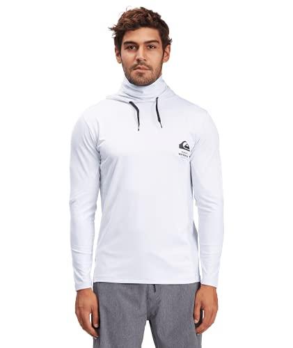 Quiksilver Waterman Men's Standard Angler Hooded Long Sleeve Rashguard Surf Tee Shirt, White, M