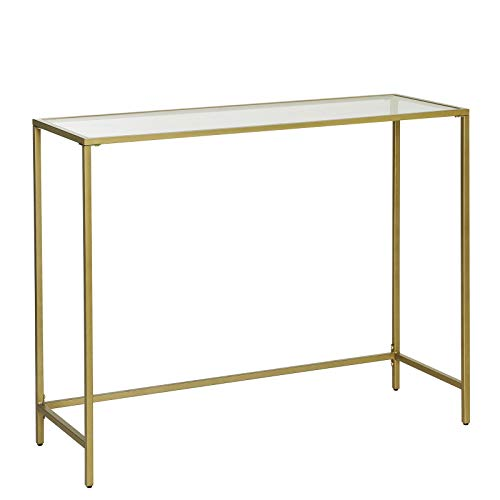 VASAGLE Console Table, Tempered Glass Table, Modern Sofa or Entryway Table, Metal Frame, Sturdy, Adjustable Feet, for Living Room, Hallway, Golden LGT26G