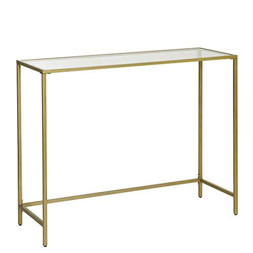 VASAGLE Konsolentisch, Beistelltisch aus Hartglas, moderner Sofatisch, stabil, einfacher Aufbau, verstellbare Füße, Wohnzimmer, Flur, goldfarben LGT26G