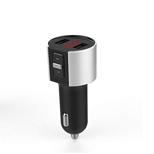 Bluetooth FM Transmitter, 5V2.1A Mini Auto Bluetooth Adapter mit Mikrofon,dual USB Ports und Spannungsanzeige für Android und iOS