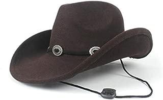 AU-KANGSHUAI Men Women Western Cowboy Hat Authentic 100% Wool Wide Brim Hat Winter Outdoor Casual Hat Size 56-58CM
