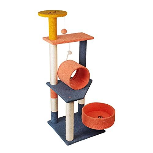 Torre de árbol de gato moderna, condominio de árbol de gato con postes rascadores de sisal, percha de felpa, soporte de condominio de escalada de gato grande de madera para gatos de interior, casa d