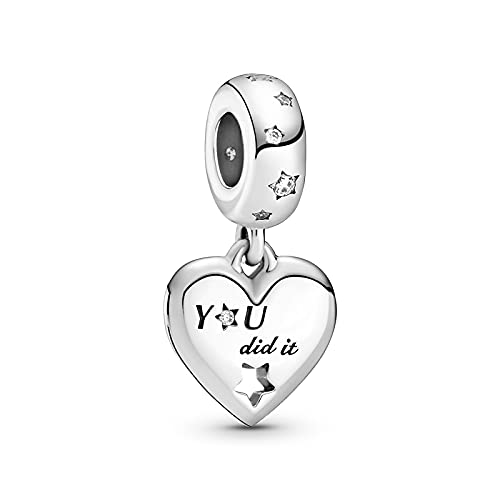 ZHANGCHEN Dije de Plata de Ley 925, corazón y Estrellas, Accesorio Adecuado para Pulsera y Collar de Pandora, 925