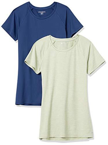 Amazon Essentials Cap-Sleeve Tech Stretch 2-Pack T-Shirt, Marineblau/Grün, Space-Dye, XXL