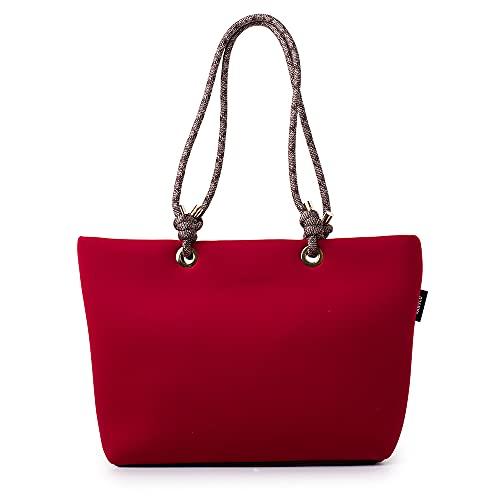 VANYLU Bolso Mujer Shopper Madrid de Neopreno. Bolso Tote Grande de Tela Impermeable para Uso Casual. Tote Bag Clásico de Forma Cuadrada. (Granate)