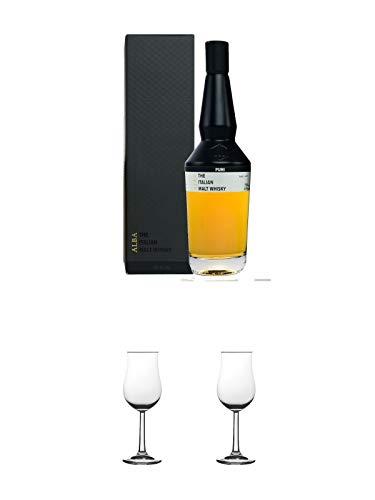 Puni Alba Single Malt Whisky Italien 0,7 Liter + Nosing Gläser Kelchglas Bugatti mit Eichstrich 2cl und 4cl 1 Stück + Nosing Gläser Kelchglas Bugatti mit Eichstrich 2cl und 4cl 1 Stück