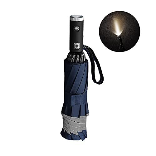 MISS KANG Ombrello completamente automatico Reverse pieghevole ombrello 10-Bone Tri-Fold antivento LED torcia illuminazione business ombrello protezione UV (colore : nero) Qingchunw (Colore: H)